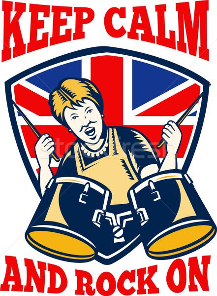 Keep Calm Rock On British Flag Queen Granny Drums Stock photo © patrimonio