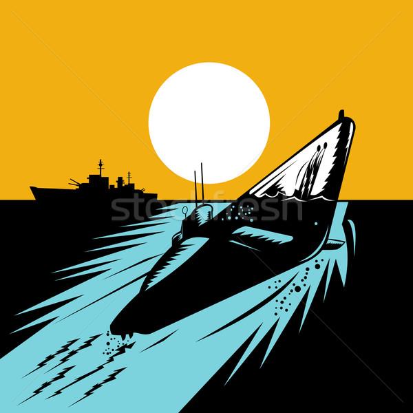 Onderzeeër boot retro illustratie omhoog wateroppervlak Stockfoto © patrimonio