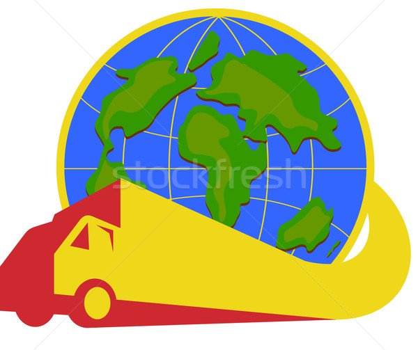 Delivery Truck Lorry Globe Retro Stock photo © patrimonio
