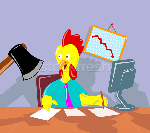 Stock photo: rooster chicken office worker employee axed
