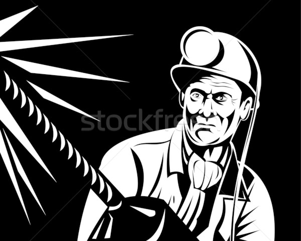 miner with jack drill front view Stock photo © patrimonio