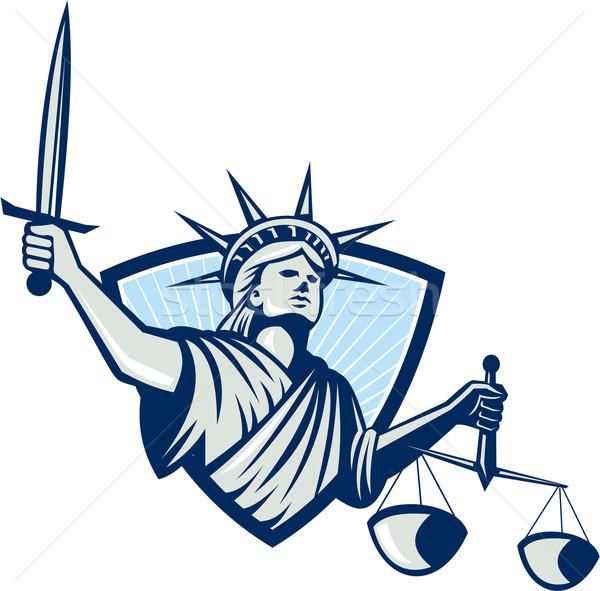 Heykel özgürlük terazi adalet kılıç Stok fotoğraf © patrimonio