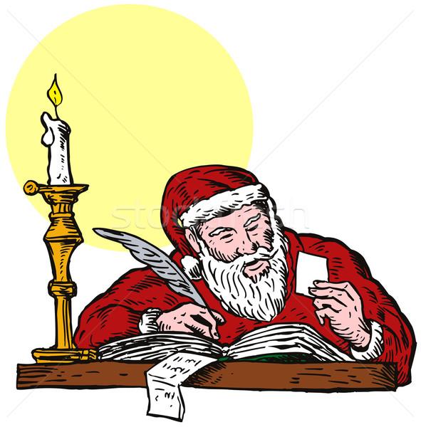 Babbo natale iscritto illustrazione padre Natale note Foto d'archivio © patrimonio