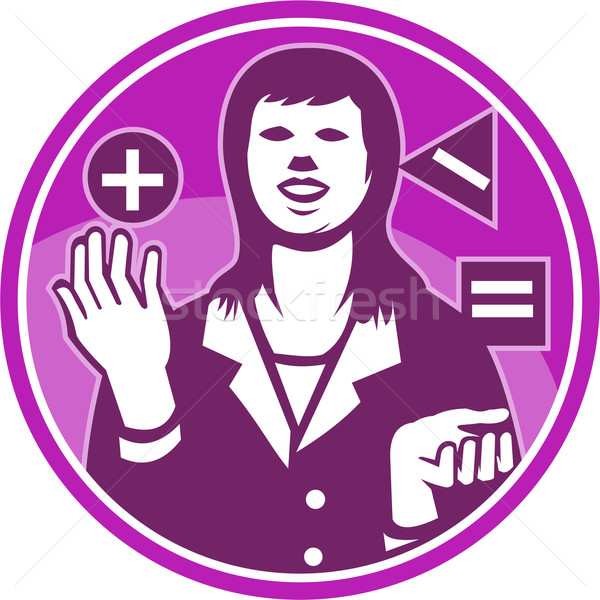 Office Worker Businesswoman Juggling Woodcut Stock photo © patrimonio
