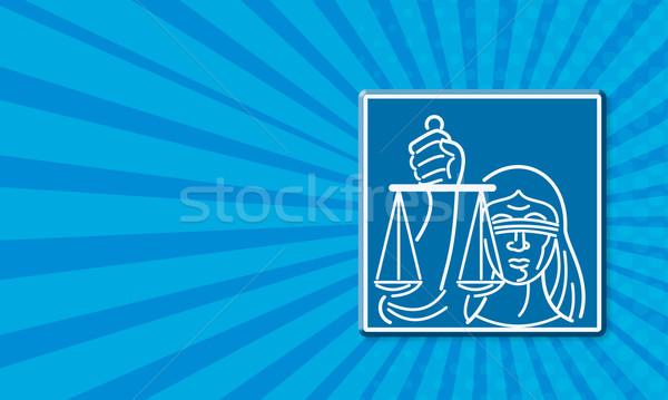 Dame geblinddoekt schalen justitie tonen Stockfoto © patrimonio