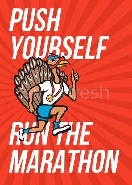 Turkey Run Marathon Runner Poster Stock photo © patrimonio