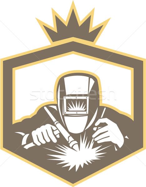 Welder Fabricator Welding Torch Shield Retro  Stock photo © patrimonio