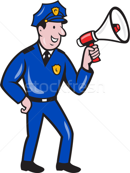 Policeman Shouting Bullhorn Isolated Cartoon Stock photo © patrimonio