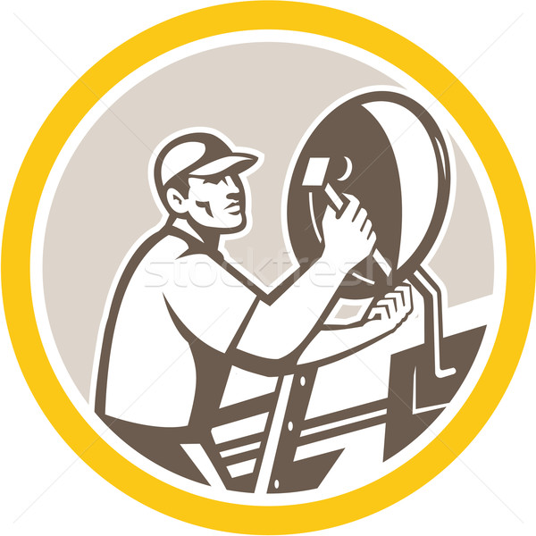 TV Satellite Dish Installer Retro Circle Stock photo © patrimonio