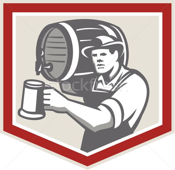 Barman Lifting Barrel Pouring Beer Mug Retro Stock photo © patrimonio