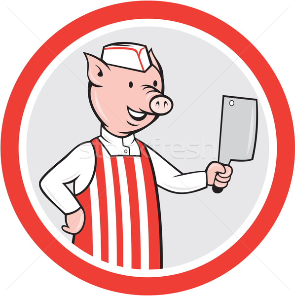 Pig Butcher Holding Knife Cartoon Stock photo © patrimonio