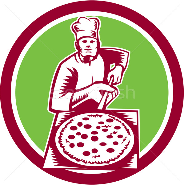 Pizza Maker Holding Pizza Peel Circle Woodcut Stock photo © patrimonio