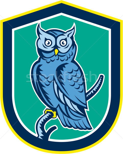 Great Horned Owl on Branch Shield Retro Stock photo © patrimonio