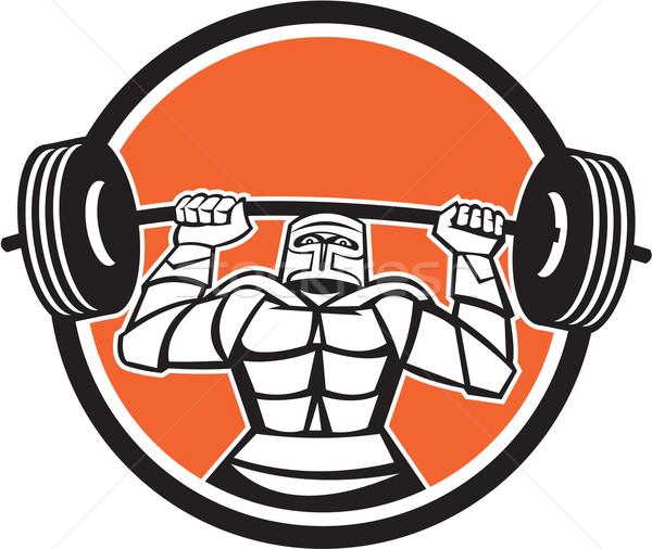 Lovag páncél emel súlyzó súlyok kör Stock fotó © patrimonio