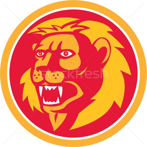 Angry Lion Head Roar Circle Retro Stock photo © patrimonio