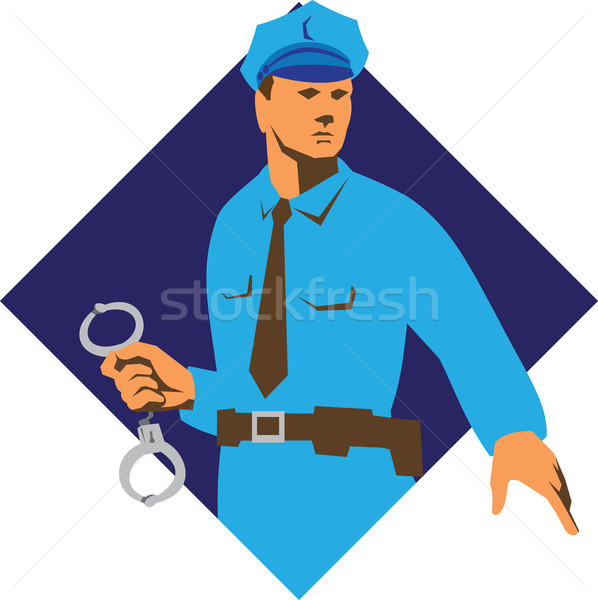 Policeman Handcuffs Diamond Retro Stock photo © patrimonio