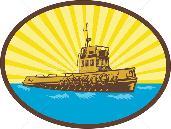 River Tugboat Oval Woodcut Stock photo © patrimonio