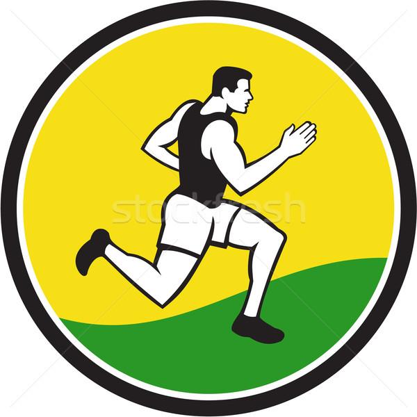 マラソン ランナー サークル レトロな イラスト 男性 ストックフォト © patrimonio