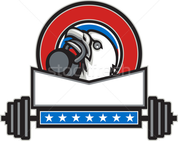 Bald Eagle Lifting Kettleball Barbell Circle Retro Stock photo © patrimonio