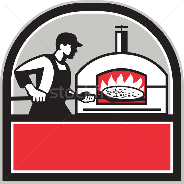 Pizza Cook Peel Wood Fired Oven Crest Retro Stock photo © patrimonio