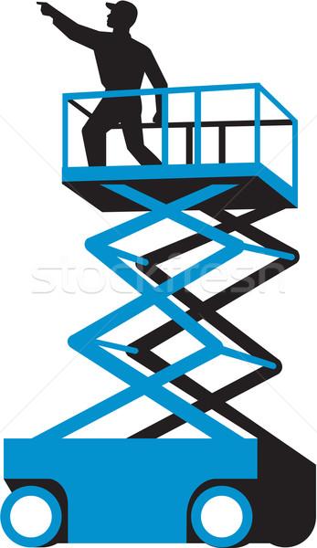 Scissor Lift Worker Pointing Retro Stock photo © patrimonio