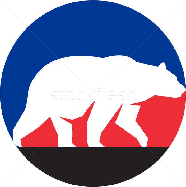 Lopen silhouet cirkel retro illustratie Stockfoto © patrimonio