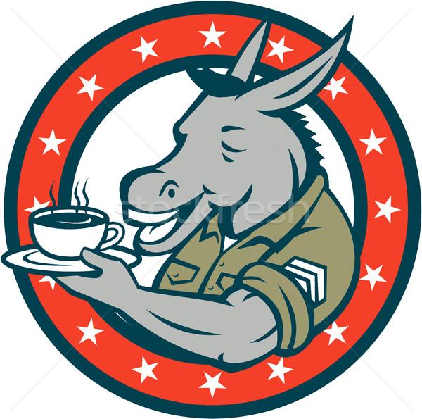 армии сержант ослом кофе круга Cartoon Сток-фото © patrimonio