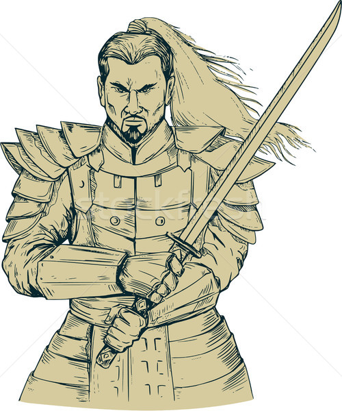 Samurai Warrior Swordfight Stance Drawing Stock photo © patrimonio