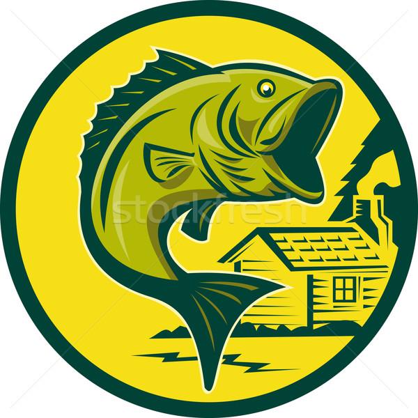 largemouth bass fish jumping log cabin dark green Stock photo © patrimonio