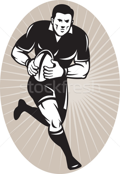 Rugby player with ball wearing all black Stock photo © patrimonio