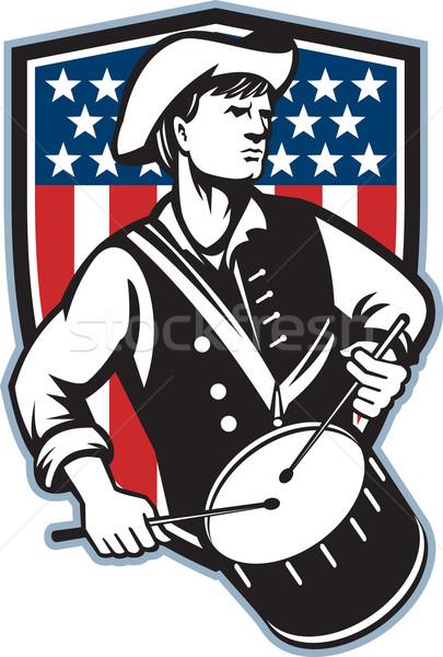 Amerykański patriota perkusista banderą ilustracja żołnierz Zdjęcia stock © patrimonio
