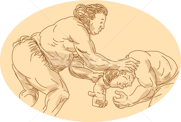 Japanese Sumo Wrestler Sketch Stock photo © patrimonio