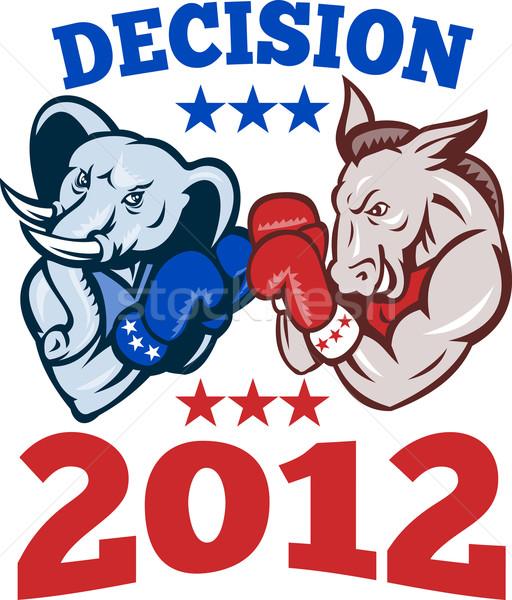 Demokrat eşek cumhuriyetçi fil karar 2012 Stok fotoğraf © patrimonio
