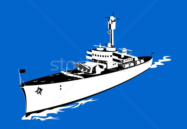 Világ háború kettő csatahajó retro illusztráció Stock fotó © patrimonio
