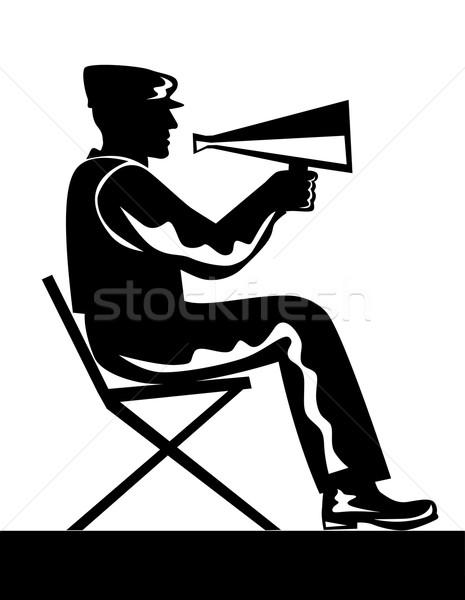 директор мегафон иллюстрация сидят ретро-стиле Сток-фото © patrimonio