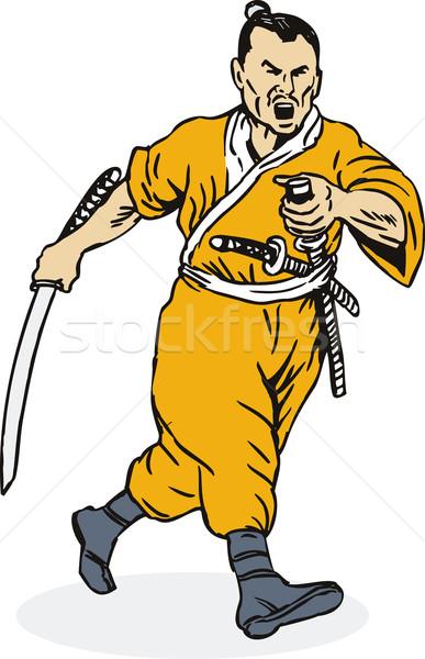 Samurai guerreiro corrida ilustração espada outro Foto stock © patrimonio