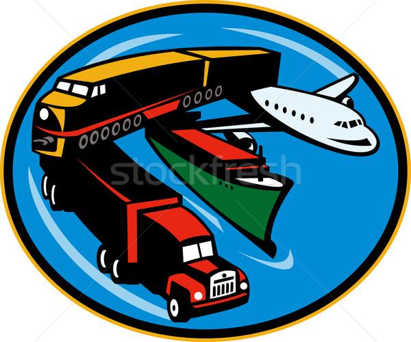 Trein vrachtwagen containerschip vliegtuig reizen illustratie Stockfoto © patrimonio