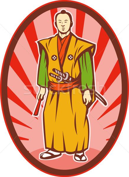 Samurai guerreiro espada ventilador ilustração homem Foto stock © patrimonio