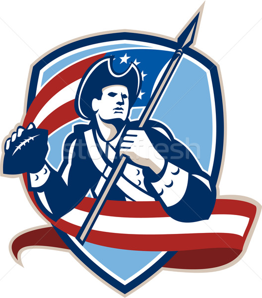 American Patriot Football Quarterback Shield Stock photo © patrimonio
