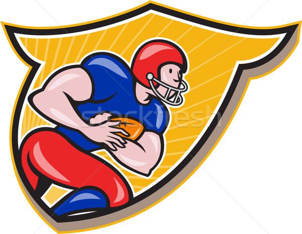 American Football Running Back Rushing Shield Cartoon Stock photo © patrimonio