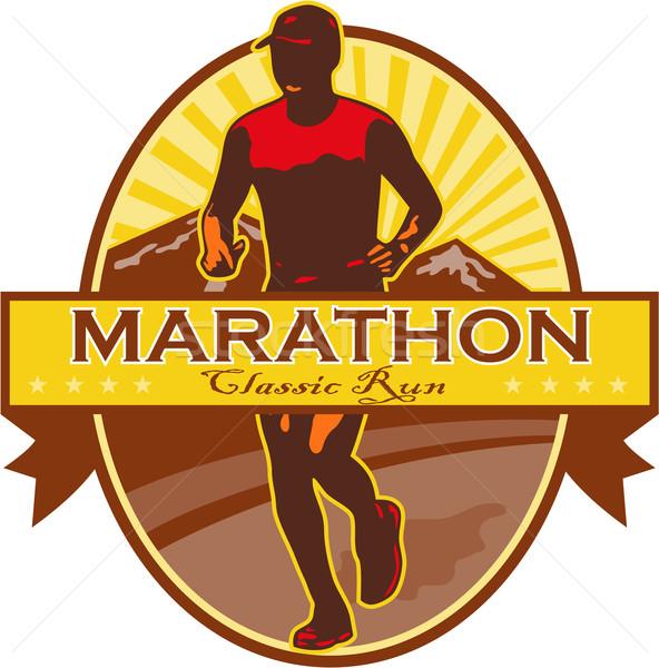 марафон классический запустить ретро иллюстрация Runner Сток-фото © patrimonio