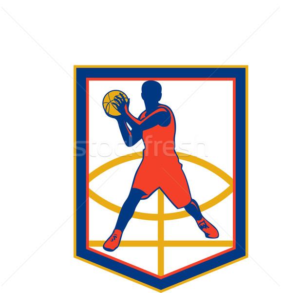 Basketball Player Passing Ball Shield Retro Stock photo © patrimonio