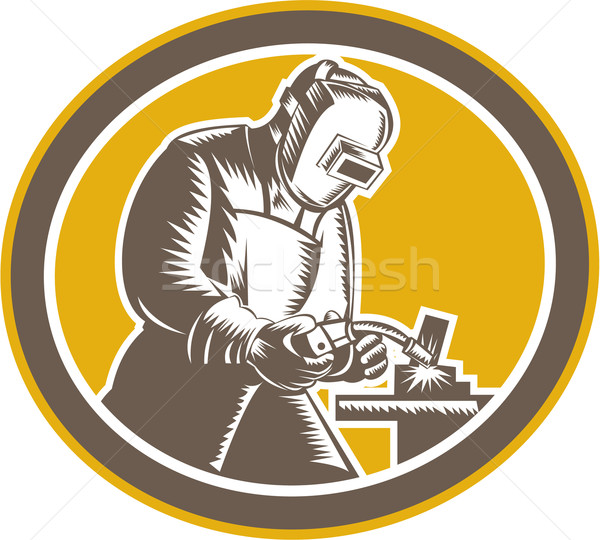 Welder Welding Side Woodcut Oval Retro  Stock photo © patrimonio