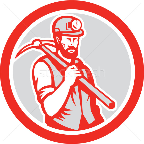 Coal Miner Hardhat Holding Pick Axe Circle Woodcut Stock photo © patrimonio