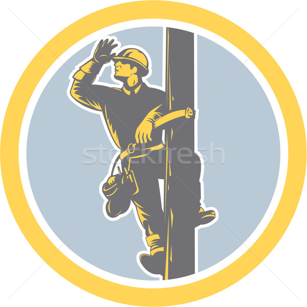 Power Lineman Telephone Repairman Looking Saluting Retro Stock photo © patrimonio
