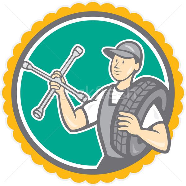 Mechanic With Tire Wrench Rosette Cartoon Stock photo © patrimonio