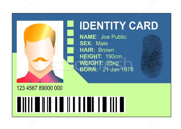 Carteira de identidade masculino ilustração isolado branco Foto stock © patrimonio