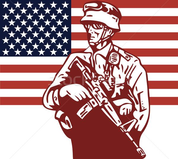 Americano soldato illustrazione bandiera americana stile retrò Foto d'archivio © patrimonio