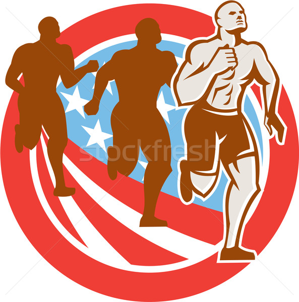 American Crossfit Runners USA Flag Circle Retro  Stock photo © patrimonio