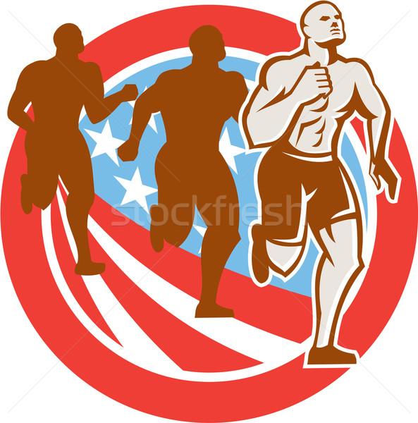 Crossfit coureurs USA pavillon cercle Photo stock © patrimonio